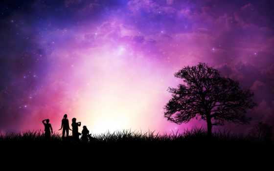 красивые, закат, трава, люди, украсят, экран, фоновые, bora, linux, thumb, самые,