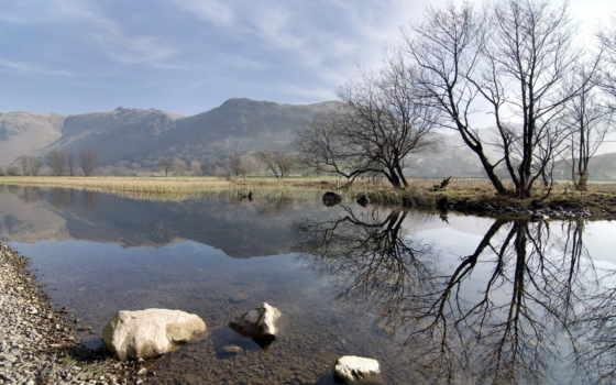 природа, весна, горы, страница, отражение, trees,