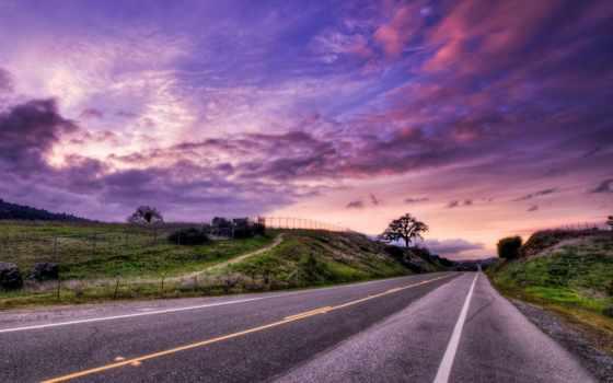 дорога, закат, landscape, hdr,