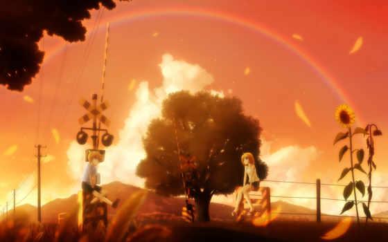 anime, дружба, девушка, priroda, настроение, радуга, парень, подсолнух, фотообои, фотопанно,