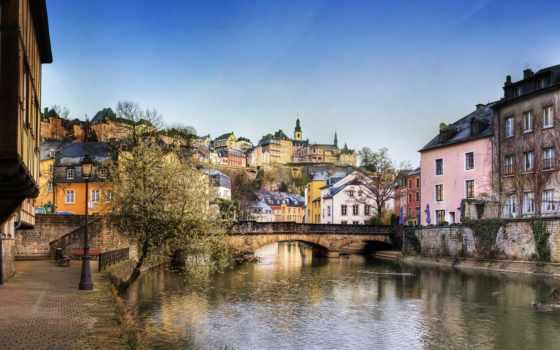 luxembourg, город, фотообои, здания, цветы, день, река, мост, дек, grund, страны,