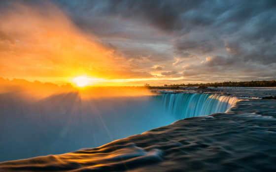 водопад, sun, rays, niagara, rising, водопады,