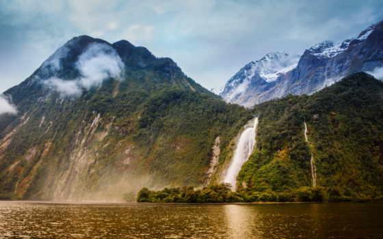 bowen, falls, река, milford, sound, lady, новая, zealand, водопады, горы, природа,