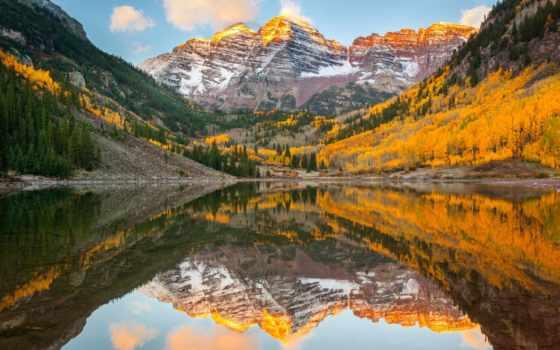 бардовый, склянки, state, осень, сша, гора, colorado, скалистый, природа