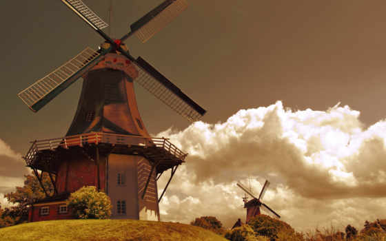 holland, mill, oblaka