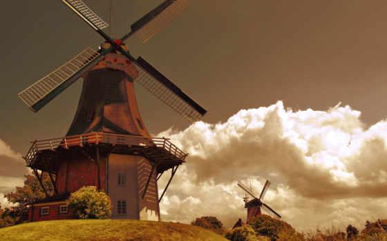 holland, mill, oblaka