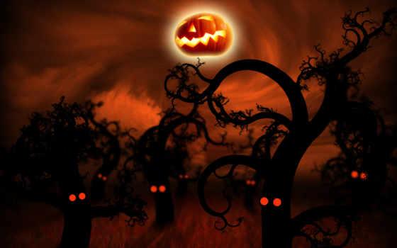halloween, лес, полночь