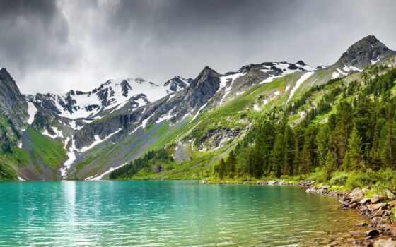 озеро, лес, стк, подножия, горы, домов, дня, больших, construction, размеров,