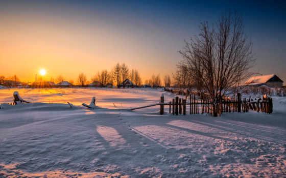 słońca, wschód, zima