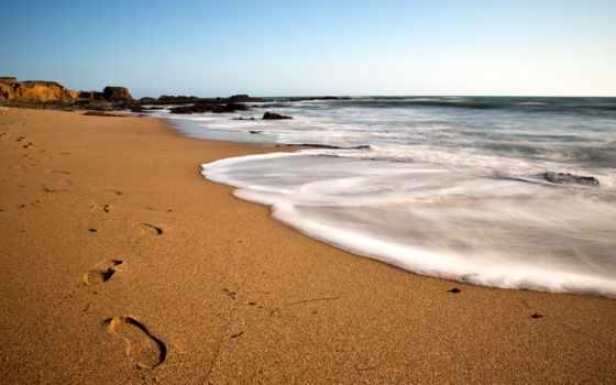 traces, песок, берег, море, небо, побережье, пляж, закат, ocean, голубое,