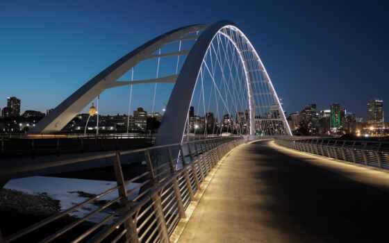 edmonton, города, канада, подсветка, мост, огни, iphone,