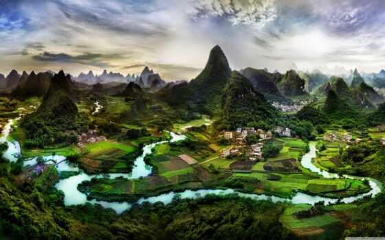 китаянка, гора, landscape, china, природа, река, деревня