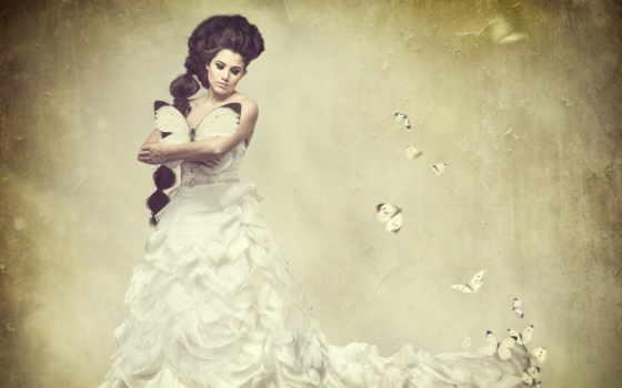 девушка, бабочки, крыльями, картинку, платье, картинка,