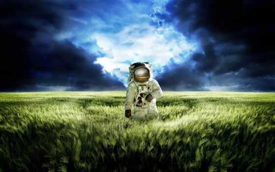 космонавт, поле, пшеница, другой, планете, картинка,