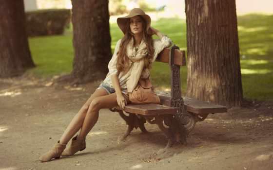 фотосессии, clara, парке, alonso, модель, скамейке, позы, сидит, девушка,