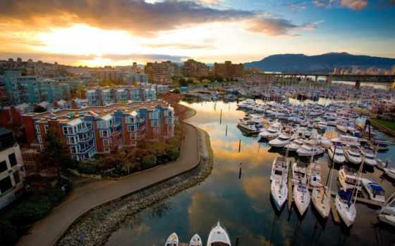 яхты, причал, города, desktop, утро, full, здания, город, pier,