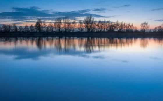 lago, puesta, сол, desire, calma, reflexión, gratis, del,