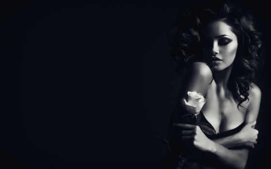 девушка, чёрно, белое, волосы, devushki, взгляд, моды, цветы, белые, макияж,