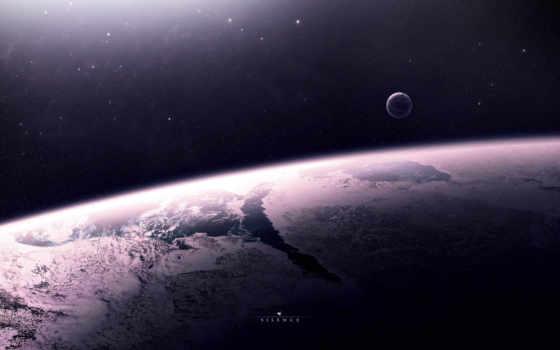 поверхность, планета, атмосфера, спутник, звезды, пространство,
