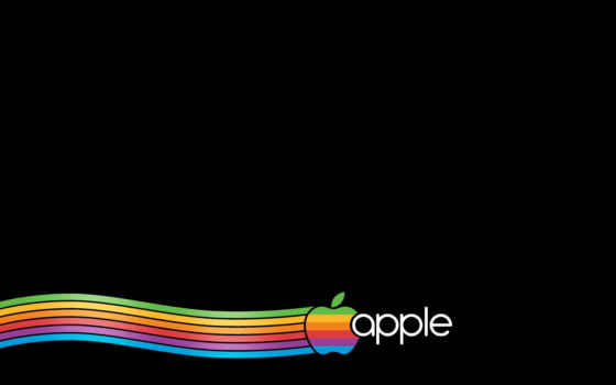 радужный эппл на чёрном фоне
