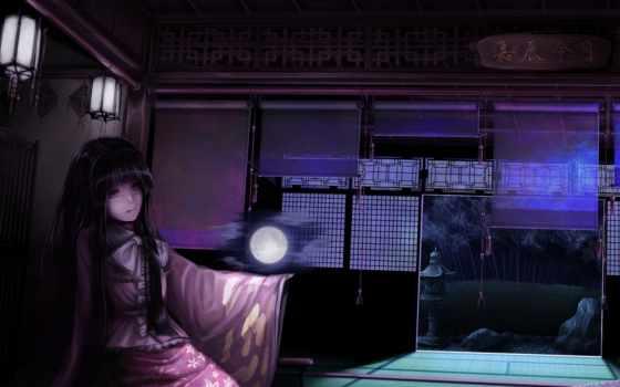 ночь, луна, категории, девушка, картинка, беспланто, kaguya, houraisan, дракон,
