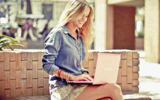 ноутбук, девушка, девушке, если, улыбка, blonde,