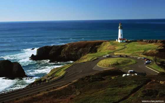 берег, oregon, ocean, панорама, usa, северная, море, pacific, america, lighthouse, дорога,