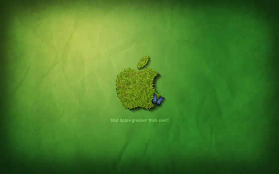 apple из травы на зелёном фоне