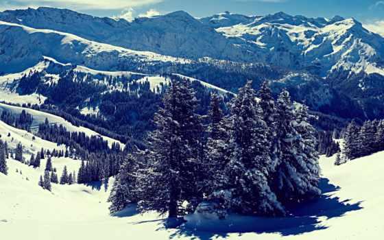 горы, winter, снег, landscape, заснеженные, туман, вершины, совершенно, wpapers, свой,