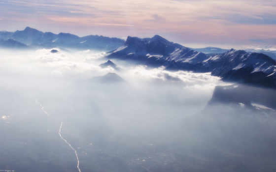 mountains, туман, гора, clouds, aerial, mist, desktop,
