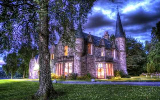 inverness, шотландия, bunchrew, house, wonderful, castle, hdr, газон,