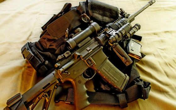 оружие, автомат, оптика, фонарь, рукоять, пиктинни, обойма, рюкзак, полотно