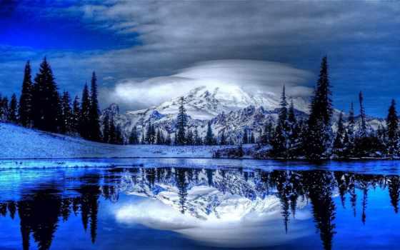 природа, full, снег