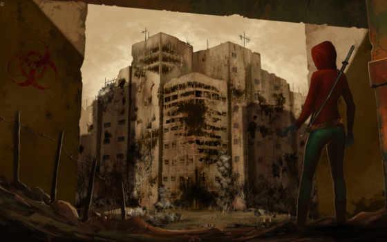 постапокалипсис, девушка, art, город, меч, пустош,