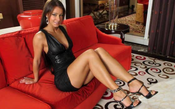 red, диван, девушка