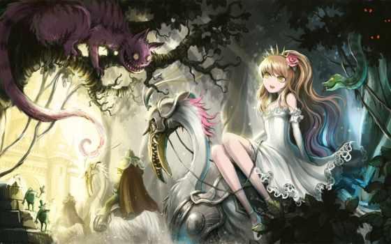 алиса, чудес, стране, anime, wonderland, art, кот, плакат, лягушки,