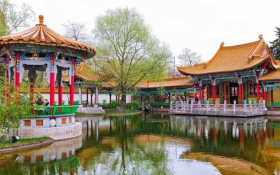 швейцария, garden, цюрих, chinese, zürich, пруд, парк, дерево, беседка,