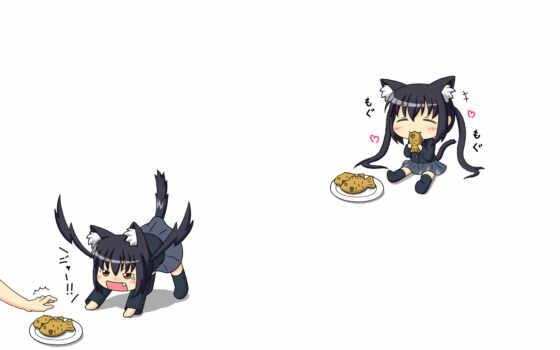 neko, akiyama, mio, anime, chibi, azusa, food, hair, azunyan, black, tags, nakano, favorites,