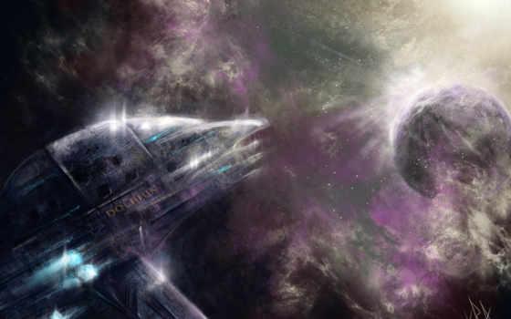 корабль, космос, дельфин