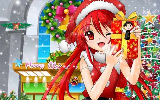 anime, год, new, подарки, shana, звезды, дерево, shakugan,