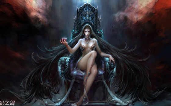 девушка, троне, fantasy, сидит, катарсис,