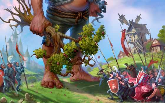majesty, kingdom, fantasy, сим, игры, яблоня, гигант, дерево, деревня,