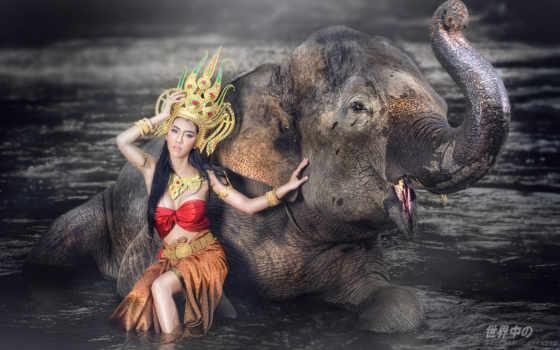 стиль, water, слон, wallbox, девушка, природа, attire,