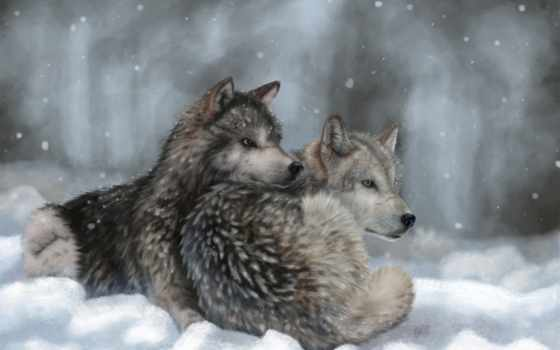 волк, снег, wolves, winter, art, animals, живопись, free,