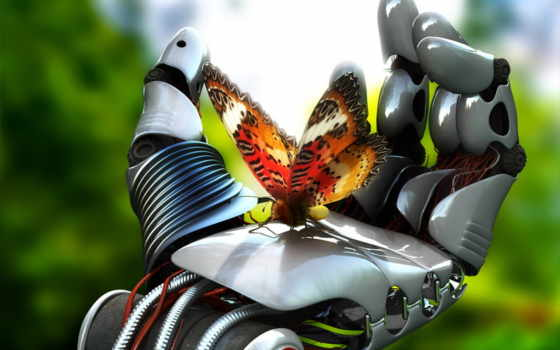 butterfly on the cyborg hand