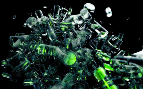 графика, абстракция, green, abstract, бутылки, прозрачный,