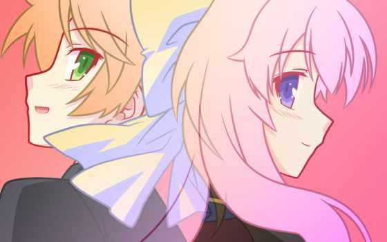 shoukanjuu, baka, test, hair, anime, minami, shimada, himeji, mizuki, eyes, blue, short, long, green, pink,