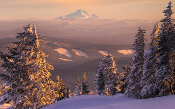 горы, природа, закат, снег, лес, пейзаж, вид, зима, горизонт, елка, mount, ели, bilder, тайга, сугробы, сопка,