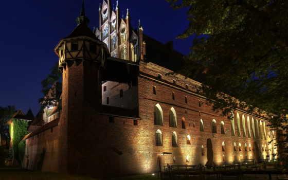 ночь, замки, malbork, poland, крепости, brick, города, burg, картинка,