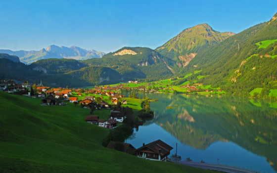 швейцария, озеро, lungern, гора, landscape,